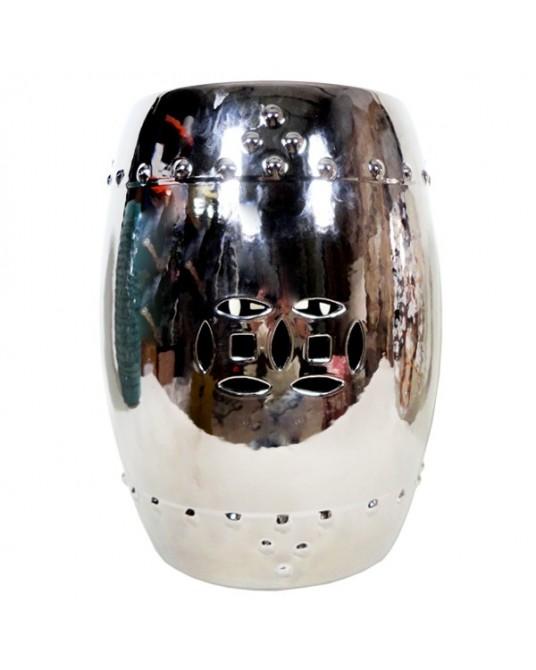 Ceramic Stool Silver