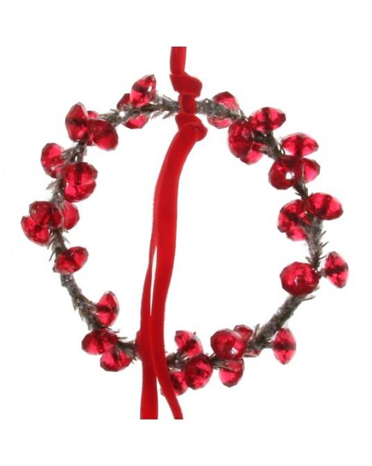 Coroa Arame Fita Vermelha 11cm