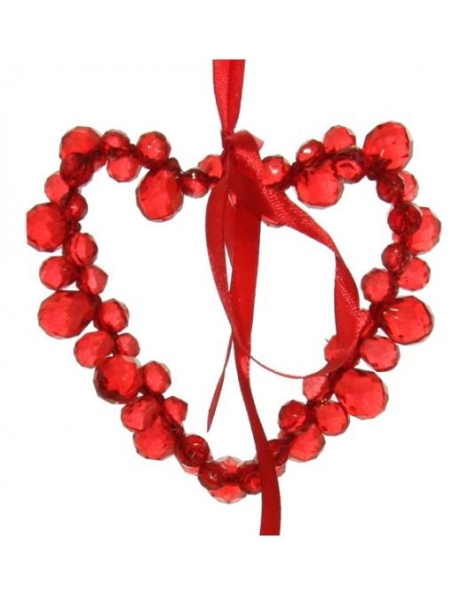 Coração Arame Fita Vermelha 9cm