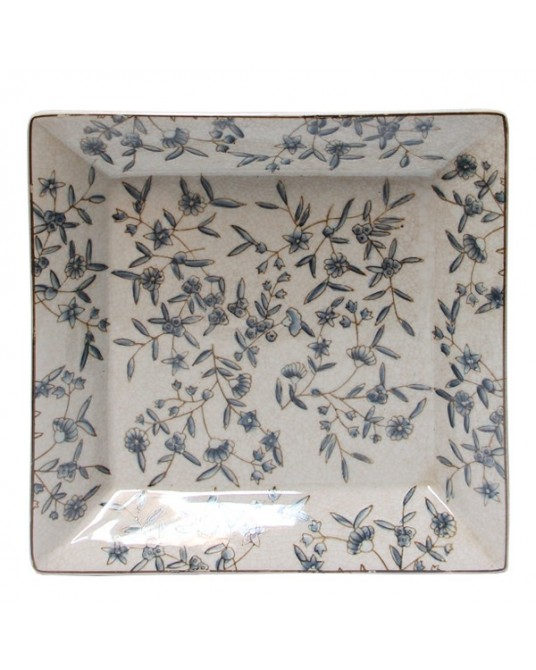 Tray Blue Flowers L
