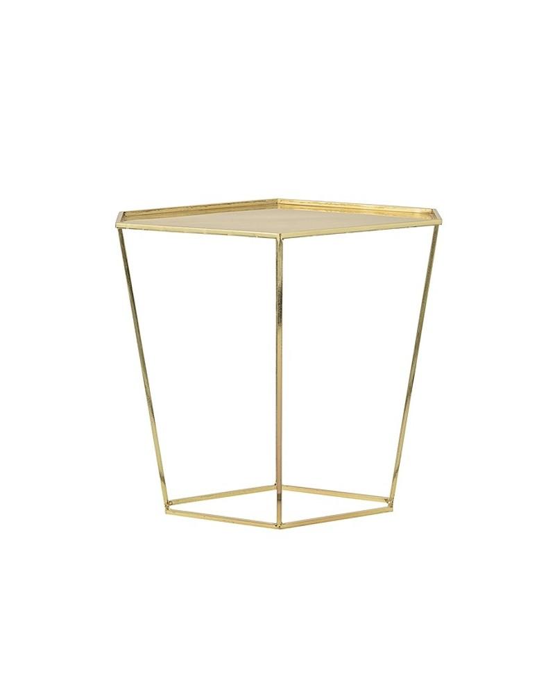 Pedestal Cube Tall Gold