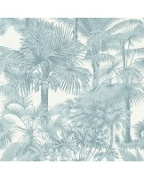 Papel de Parede Palm Botanical Spa Blue