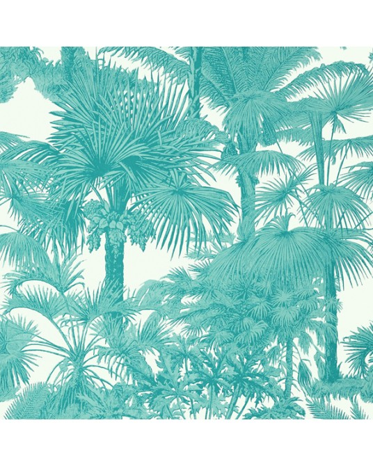 Wallpaper Palm Botanical Turquoise