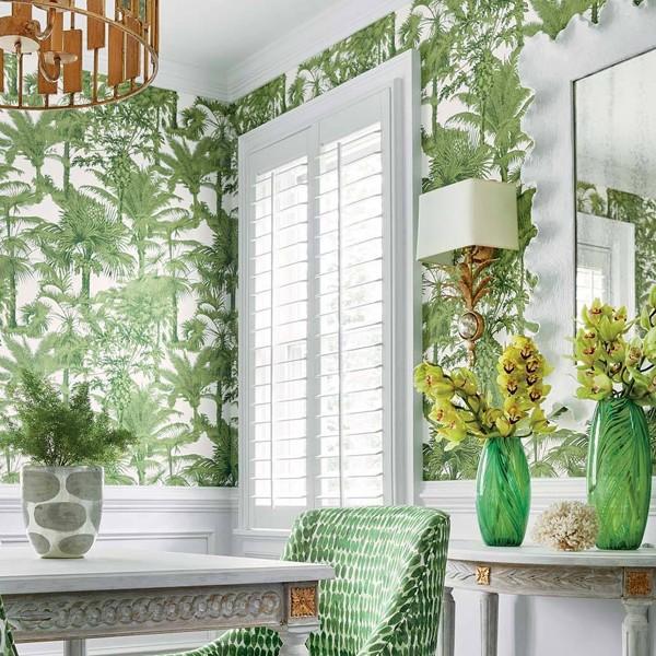 Papel de Parede Palm Botanical Emerald Green