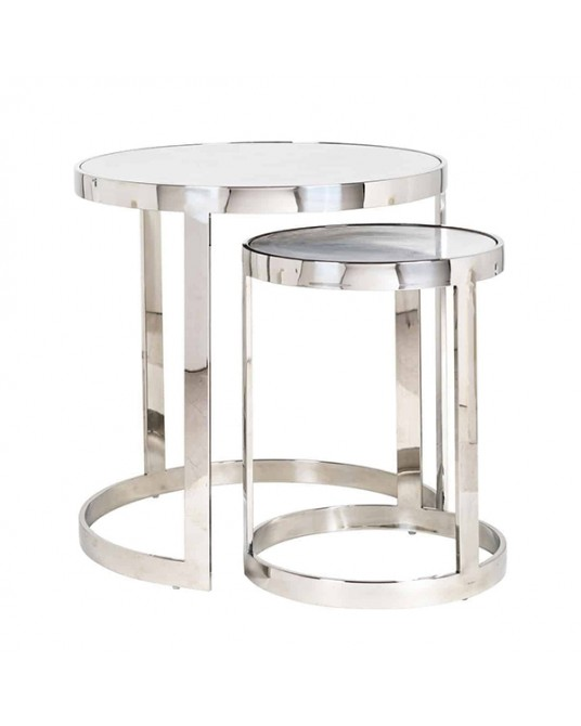 Set 2 Side Tables Regal Silve