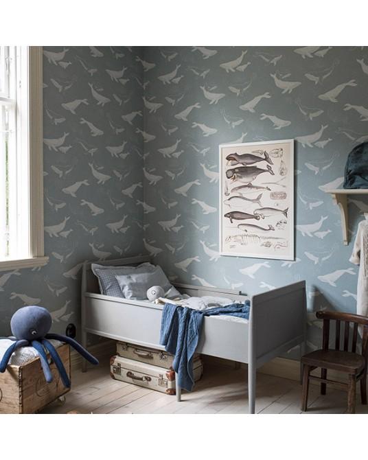 Wallpaper Whales Blue