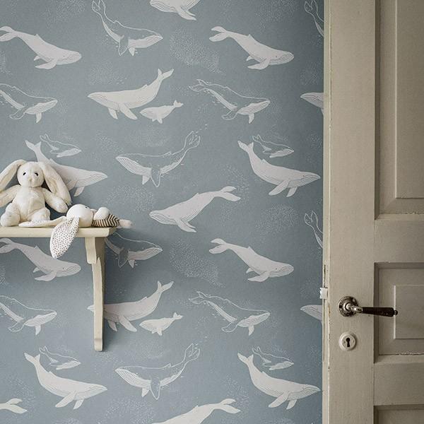 Papel de Parede Whales blue