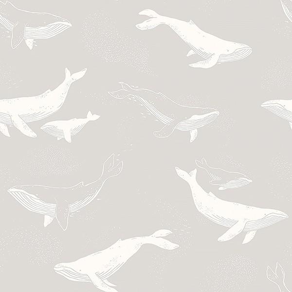 Papel de Parede Whales Grey