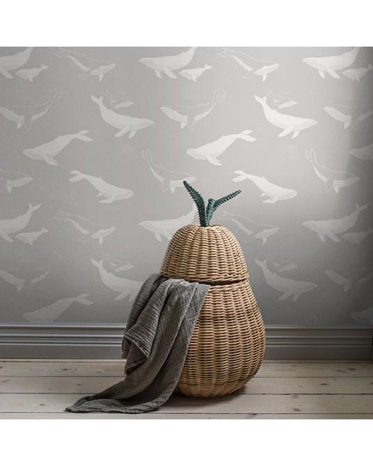 Wallpaper Whales Grey
