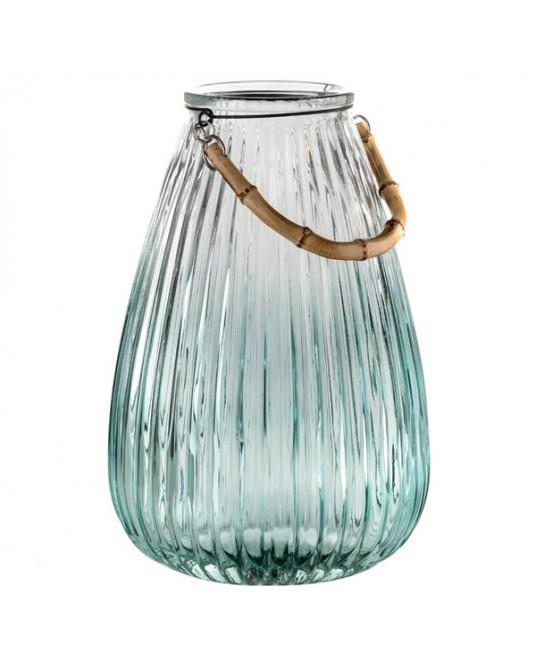 Lanterna Vidro Menta Bamboo