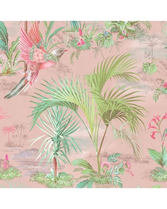 Papel de Parede Palm Scene Pink