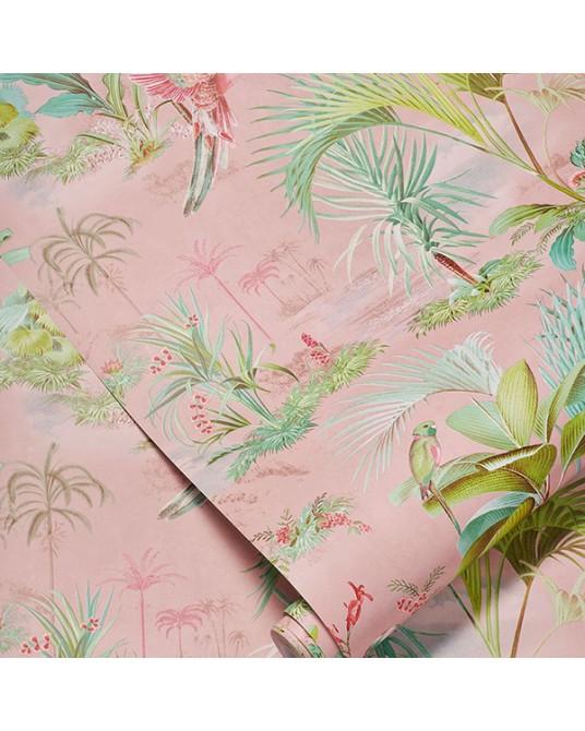 Wallpaper Palm Scene Pink