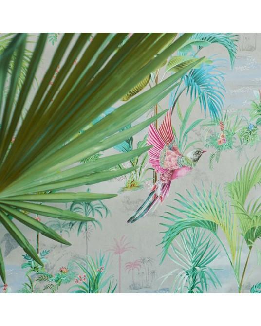 Wallpaper Palm Scene Grey
