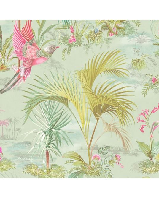 Papel de Parede Palm Scene Green