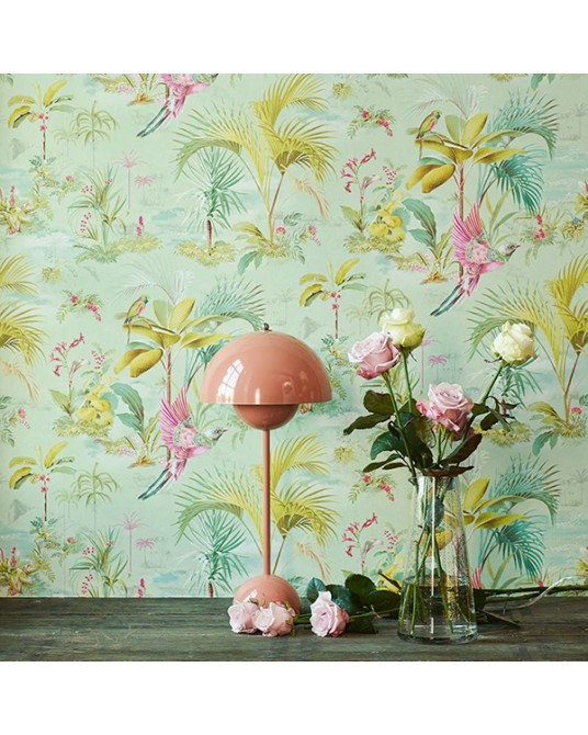 Wallpaper Palm Scene Green
