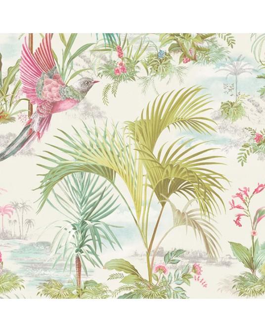 Papel de Parede Palm Scene White
