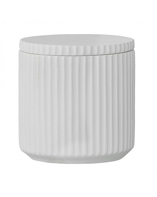 White Border Jar with lid