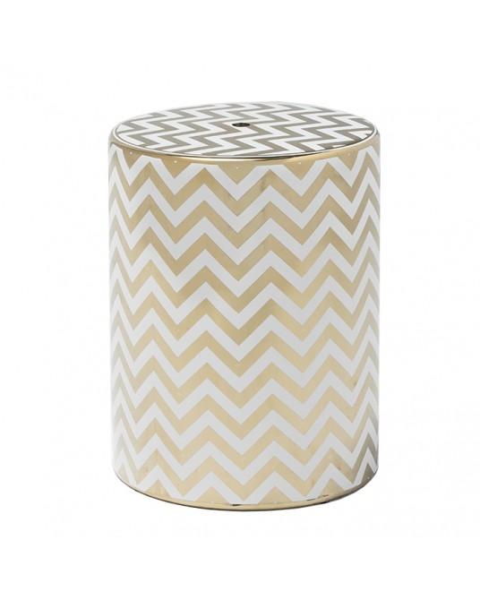 Ceramic Stool Zig Zag Gold