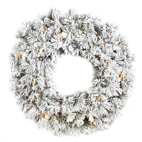 Coroa Natal Verde c/Neve e Luzes 122cm
