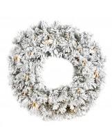 Coroa Natal Verde c/Neve e Luzes 91cm