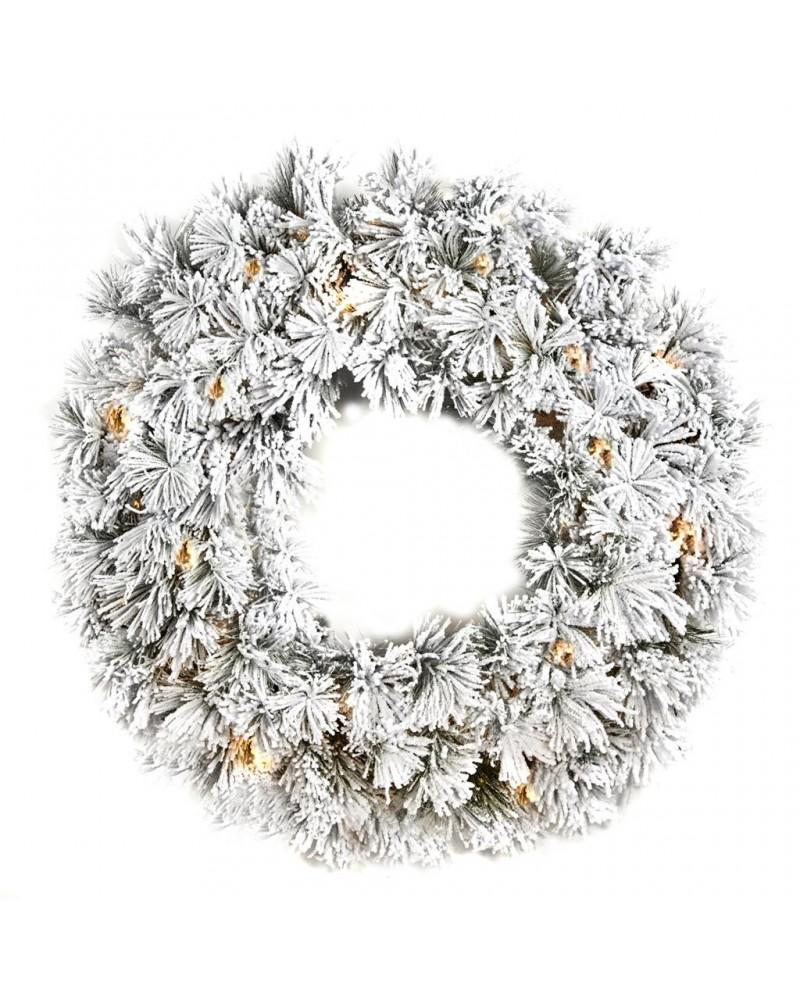 Árvore Natal Branca  c/Neve e Luzes 2.25m
