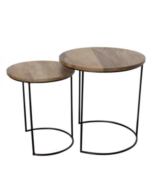 Set of 2 Wood Side Tables