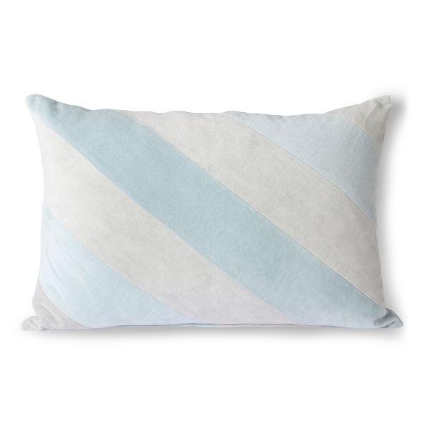 Almofada Riscas Veludo Azul