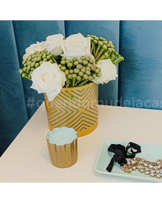 Candle Mini Gold Sugared Blossom