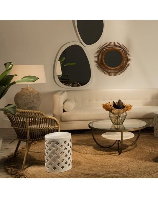 Ceramic Stool White Basket